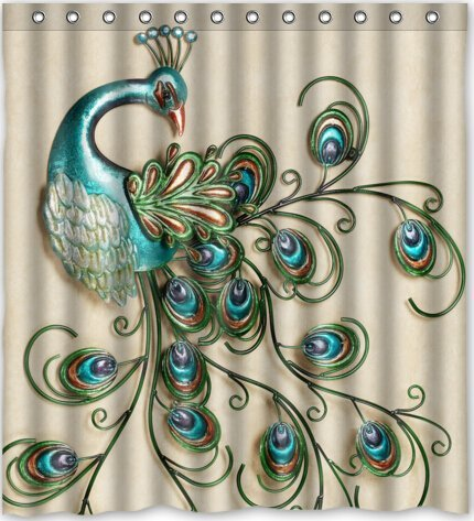 Beautiful Peacock Pattern Popular Bath Curtain Shower Curtain (60