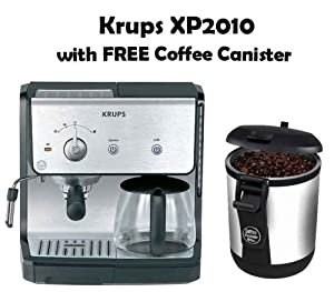 Combination Coffee Maker K Cup : Amazon.com: Krups Pump Combination 10 cup Espresso Coffee Maker With Bean Vac Coffee Canister ...