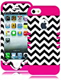 myLife Hot Pink - White and Black Chevron Series (Neo Hypergrip Flex Gel) 3 Piece Case for iPhone 5/5S (5G) 5th Generation iTouch Smartphone by Apple (External 2 Piece Fitted On Hard Rubberized Plates + Internal Soft Silicone Easy Grip Bumper Gel) Attention: This case comes grip easy smooth silicone that slides in to your pocket easily yet won't slip out of your hand