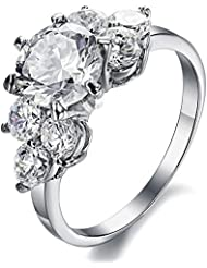 Brand New Amazing Jewelry Three Stone Engagement Ring For Women Stainless Steel Finger Ring Bands Cubic Zirconia...