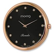 Moog Rose Pol. Stnlss Stl/Black Dial/All Crystal Mrkrs Watch Only