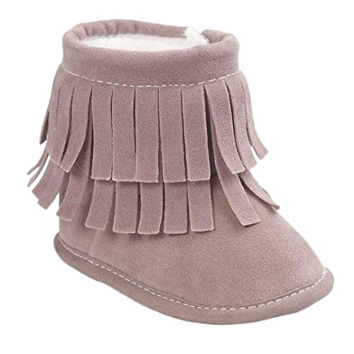 Voberry® Baby Toddler Girls Boys Winter Warm Snow Boot Tassels Trimmed Boots Outdoor (0~6Month, Gray)