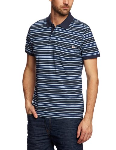 Jack and Jones Vintage Rory Stripe 1-2-3 13 Polo Men's T-Shirt Mood Indigo Small