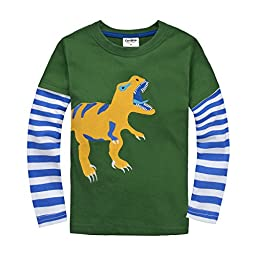 [IGO.]Long Sleeve Baby boys clothing infant toddler Dinosaur T-shirts CG25T4