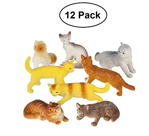 Miniature-Authentic-Cat-Figurines-Toys-12-Assorted-2-Inch-For-Kids-Boys-Girls-Cat-Lovers-Play-Decoration-Gifts-and-Party-Favors-Kidsco