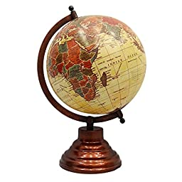 Decorative Rotating Globe Beige Ocean World Geography Earth Home Decor 13\