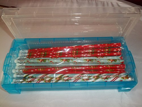 Christmas Themed Pencils - Lot of 12 Pencils and Pencil Storage Box with Locking Lid - 1