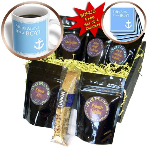 Cgb_151388_1 Inspirationzstore Occasions - Ships Ahoy Its A Boy - For Baby Showers - Light Powder Blue With White Anchor Sailor Nautical Theme - Coffee Gift Baskets - Coffee Gift Basket front-233184