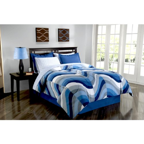 Amazing Blue Wave Queen Comforter Set Piece Bed in a Bag Beach Life