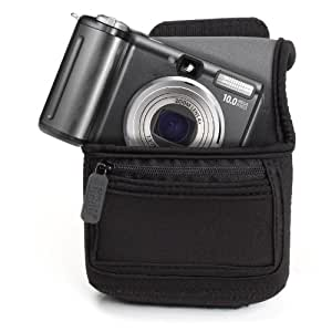 Sacoche Appareils Photos Numériques Compacts Néoprène + Poche Zippée Pour Accessoires & Boucle pour Ceinture - Compatible Avec Nikon Coolpix L31, L2900, S7000 / Canon PowerShot SX600, Digital Ixus 145 / ACTION CAM GoPRO Hero 4 , 3 - et plus - FlexArmor USA GEAR