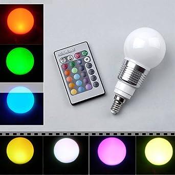 tinxi® E14 RGB LED Lampe Birne Licht Leuchtmittel 16 Farbe Farbwechsel mit Fernbedienung / 3W 85-265V