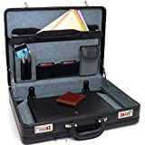 Alpine Swiss Expandable Leather Attache Briefcase Dual Combination Locks + Warranty