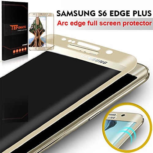 Samsung Galaxy™ S6 Edge Plus Protector de Pantalla, TEFOMATE® Vidrio Templado Protector de Pantalla Completa Tempered Glass Full Screen Protector para Samsung® Galaxy™ S6 Edge Plus [Tecnología curvado 3D] [Gold] width=