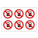 Safety Stickers 'No Mobile Phone' Standard Labels 24 Pack Self Adhesive