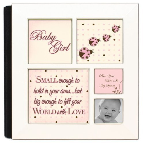 Small Enough To Hold Baby Girl Ivory Cottage Garden Photo Album with Frame
