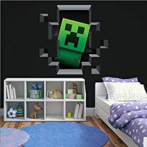 3d minecraft style wall decal poster sticker for 3d room decoration game