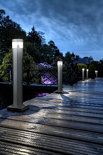 Set Of 2 LED Bollard Garden Lamp Post Stainless Steel Outdoor Ground Light  Cool White