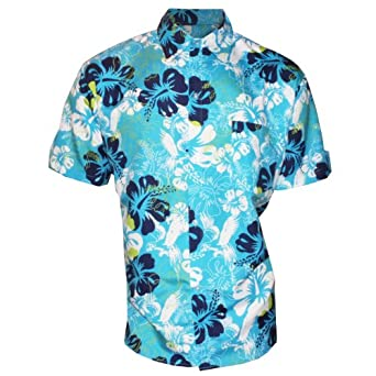"Mens Flower Floaral Floral Hawaii Hawaiian Holiday Summer Beach Surf Shirts Top Chest Size:106cm / 42"" Colour:Dark Blue"