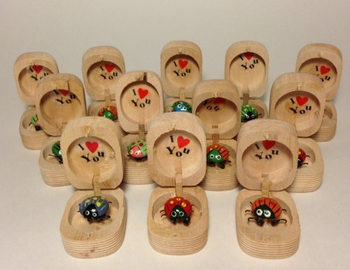 LOT OF 12- TOY WIGGILY LADYBUG LOVEBUG I LOVE YOU IN WOODEN BOX BOBBLE FEET