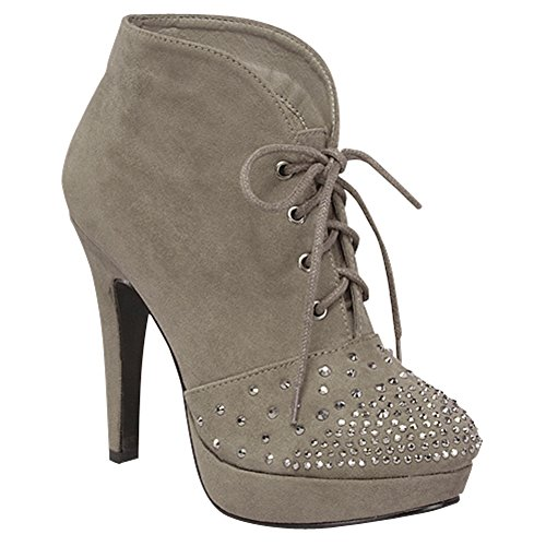 Top Moda Lady-18 Women'S Studded Lace-Up High Heel Ankle Booties, Color:Grey, Size:6.5