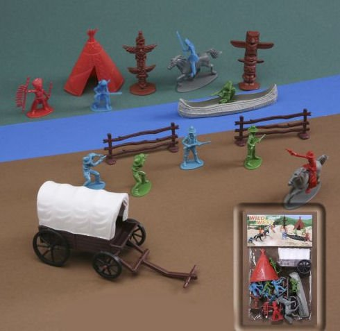 WILD WEST 19 Piece Cowboy and Indian 1/35th Play Set