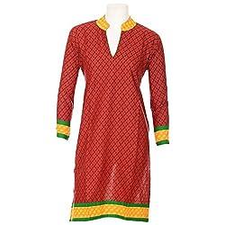 Lal Chhadi Women's Cotton Full Sleeve Mandrine collar Red Kurta