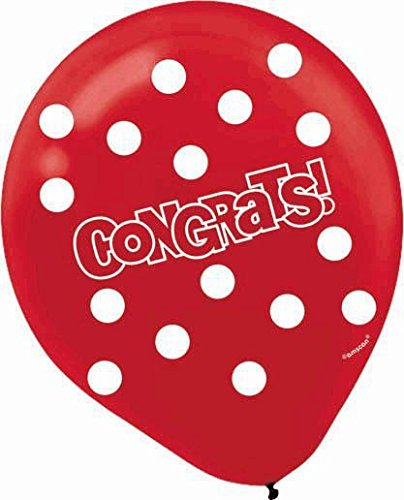 "Amscan Polka Dotted ""Congrats"" Printed Latex Balloons, Green/White/Red/Orange/Blue, 12"""
