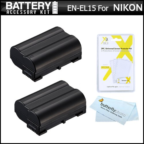 2 Pack Battery Kit For Nikon D750, D7100, D7000, D600, D610, D800, D800E, D810 Dslr And Nikon 1 V1 Digital Camera Includes 2 Extended Replacement (2500Mah) En-El15 Batteries (Fully Decoded!) + Lcd Screen Protectors + More (Battery Shows Time On Lcd!)