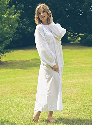 Lunn Antiques Polo Longsleeve Victorian Style White Cotton Nightdress