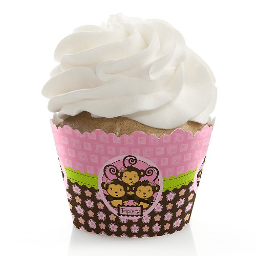 Triplet Monkey Girls - Baby Shower Cupcake Wrappers front-725798