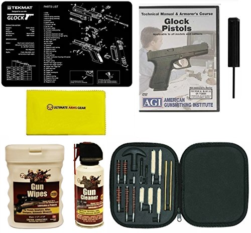 Ultimate Arms Gear Gunsmith & Armorer's Work Bench Gun Mat GLOCK + GT03374 3/32 Punch Takedown Tool + Cleaning Kit Tube Chamber Care Supplies Kit Deluxe 17 pc Handgun Pistol Brushes Swab Slotted Tips and Patches + American Gunsmithing Institute Pistols Armorer's Course + Cleaner Protector Jet Action Spray Can + Care and Reel Silicone Cloth + Wipes Patches Cleaner Oil Pop-Up Dispenser