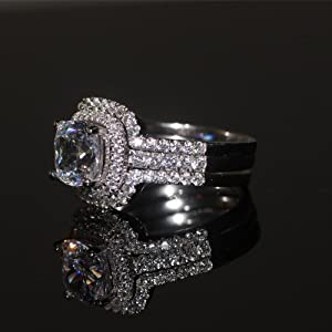Luxury Quality 3 Carat Cushion Cut Simulated Diamond Rings for Women ,Nscd Synthetic Diamond ,Bridal Set Enagement Ring 3pc Ring Sets