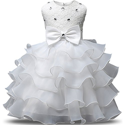 NNJXD Girl Dress Kids Ruffles Lace Party Wedding Dresses Size 0-6 month White