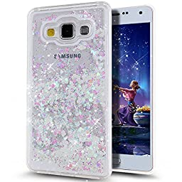 Galaxy A5 Case,NSSTAR Galaxy A5 [Liquid] [Bling] Hard Case,Fashion Creative Design Flowing Liquid Floating Luxury Bling Glitter Sparkle Love Heart Shape Hard Case for Samsung Galaxy A5 (White+Pink)