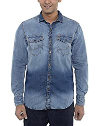 American Bull Men's Casual Shirt (ABSH6004, Blue, Small)