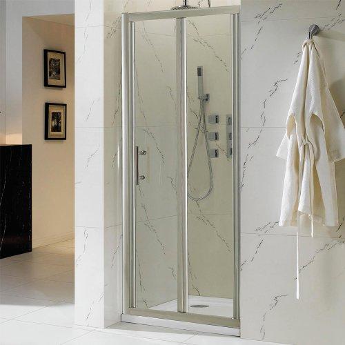 760 x 760mm Bi-Fold Glass Door Shower Enclosure + Stone Tray