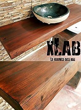 Mensola arredo bagno piano lavabo in legno massello 150x50x5