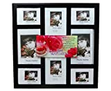Stylish Glass Table-Top Photo Frame with Black Borders - 8 Photograph Slots and Best-Wishes Greeting On Top