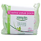Simple Cleansing Facial Wipes Twin Pack - 2 x 25 Wipes