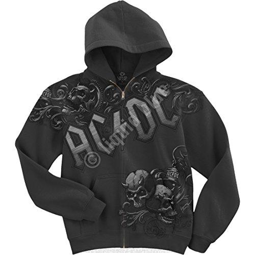 AC/DC notte Prowler con cappuccio e cerniera grigio Large