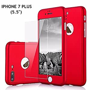 SDO™ 360 All-Round Protective Slim Fit Hybrid Body Case with Tempered Glass for Apple iPhone 7 Plus (Red)