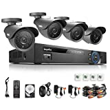 SANNCE 8CH Full 960H Video DVR QR Code Scan Easy Setup Surveillance System 1TB Hard Drive Pre-installed with 4 Weatherproof 800TVL Outdoor 110ft Super Cameras CCTV Home Surveillance System Quick Remote Access
