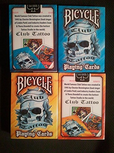 Bicycle 2 Deck Blue and Yellow Club Tattoo Playing Cards w/ Calculator