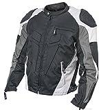 Xelement CF-624 Mens Black/Grey/Light Grey Armored Race Textile Jacket - Medium