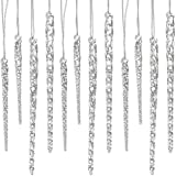 "24 Piece Set Kurt Adler 3.5""-5.5"" Assorted Clear Glass Icicle Ornaments - Set Of 2 (2)"
