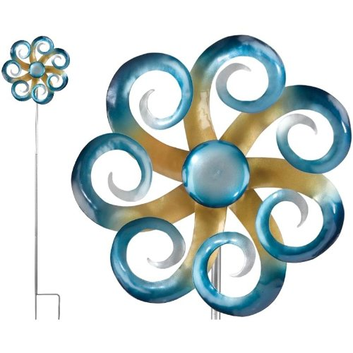 Kinetic Wind Spinner Garden Stake Decor 12In Waves 2/Pack