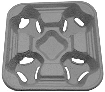 "PrimeWare CC-832 Brown Recycled Cardboard/Paper Disposable Biodegradable 4-Cup Carrier, Fits 8- to 32-Ounce Cups, 8-3/4"" Length x 8-3/4"" Width x 2-1/8"" Height (Case of 300)"