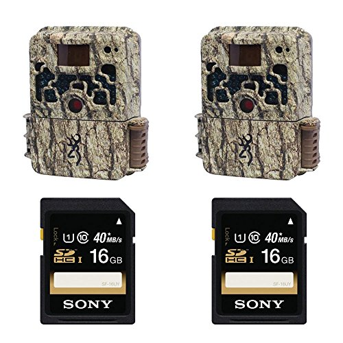 (2) Browning STRIKE FORCE BTC5HD Sub Micro Trail Camera with Sony 16GB SDHC Class 10 Memory Cards