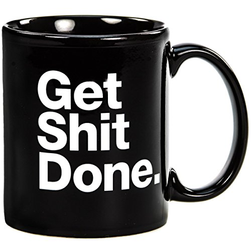 Get Shit Done Motivational Black Ceramic Coffee Mug (Popcorn Mug compare prices)