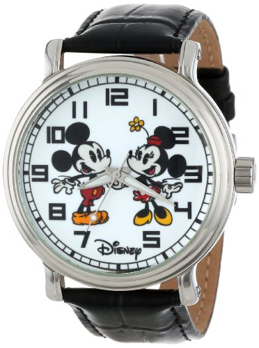 Disney Men's W001012 Vintage Mickey and Minnie Mouse Black Leather Strap Watch 0